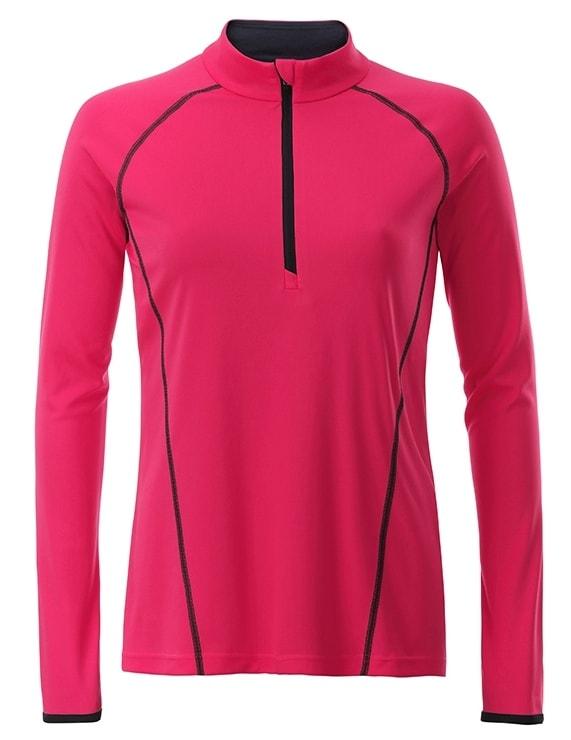 Dámské funkční tričko s dlouhým rukávem JN497 - Jasně růžová / titanová   S