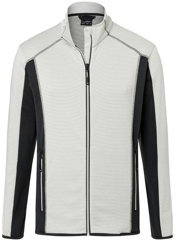 James & Nicholson Pánska strečová fleecová mikina JN784 - Šedo-bílá / tmavě šedá | S