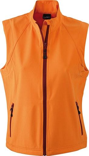 James & Nicholson Dámska softshellová vesta JN1023 - Oranžová | XXL