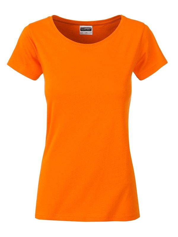 James & Nicholson Klasické dámske tričko z biobavlny 8007 - Oranžová | M