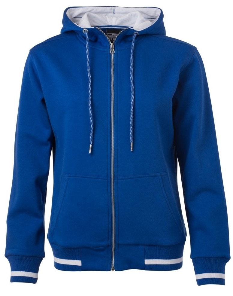 James & Nicholson Dámska mikina na zips s kapucňou Club JN775 - Královská modrá / bílá | M