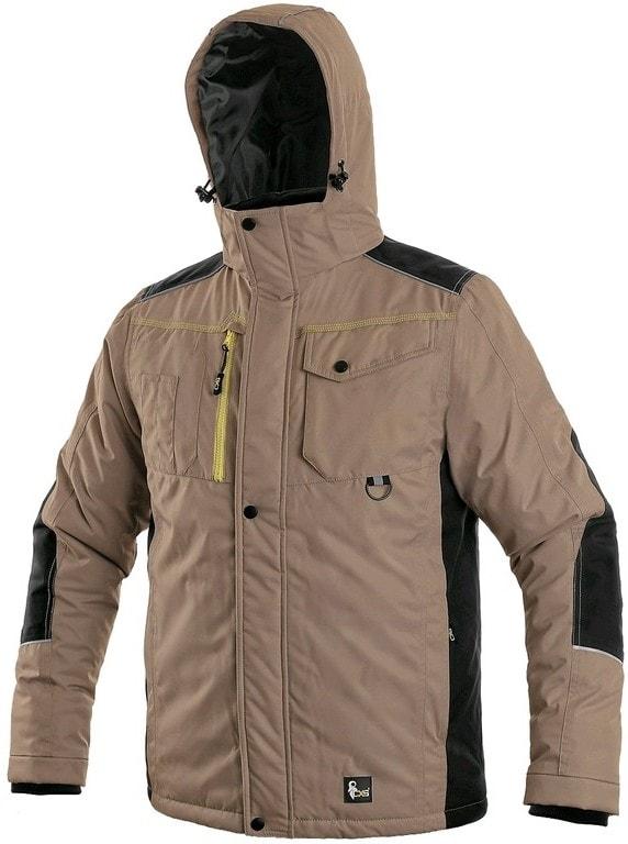 Canis Pánska zimná bunda CXS BALTIMORE - Béžová / černá | XXXXL