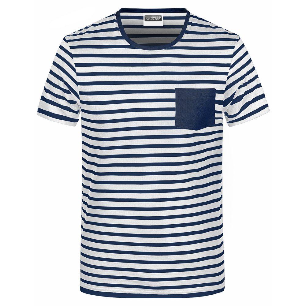 James & Nicholson Pánske pruhované tričko z biobavlny 8028 - Bílá / tmavě modrá | S