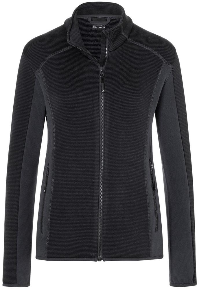 James & Nicholson Dámska strečová fleecová mikina JN783 - Černá / tmavě šedá | S