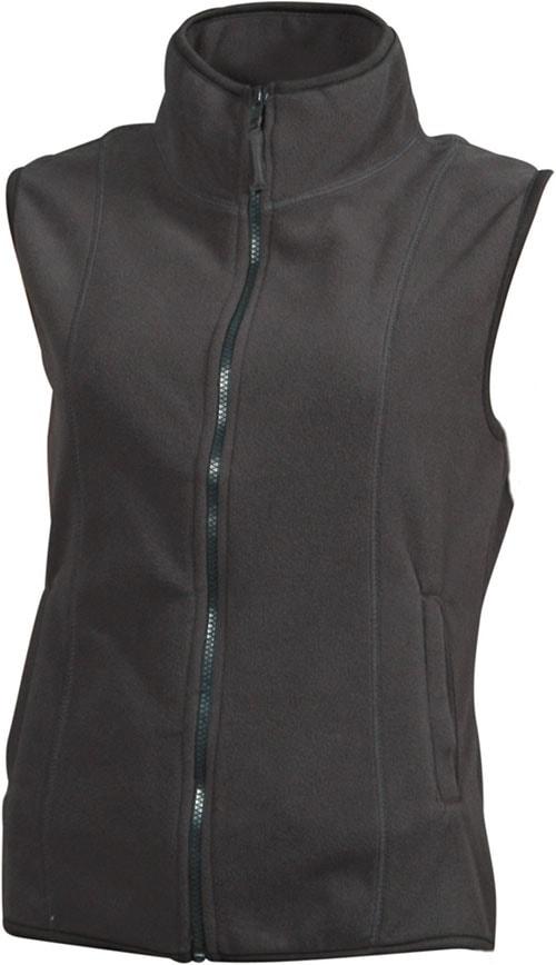 James & Nicholson Dámska fleecová vesta JN048 - Tmavě šedá   XXL