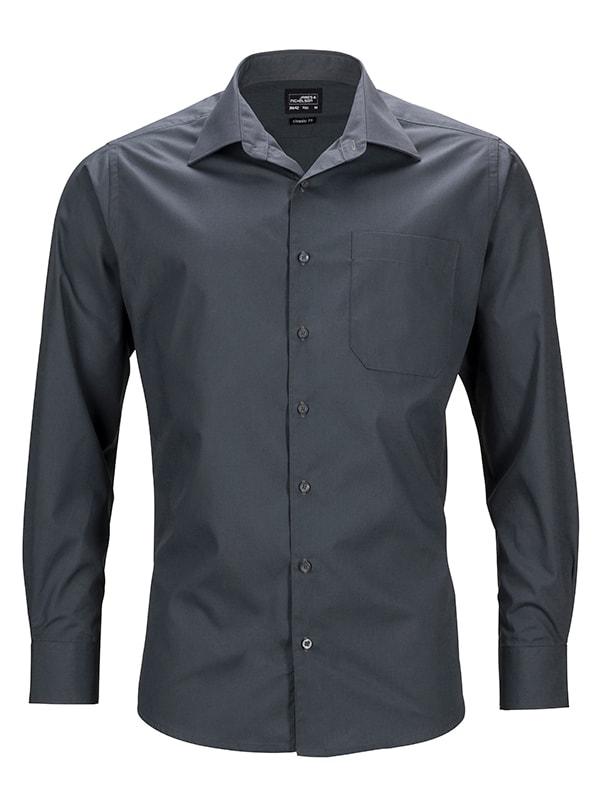 James & Nicholson Pánská košile s dlouhým rukávem JN642 - Tmavě šedá | S