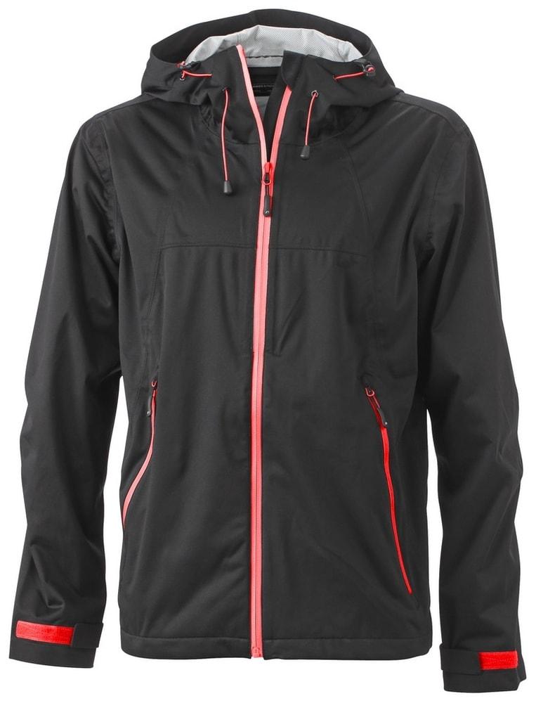James & Nicholson Pánska softshellová bunda s kapucňou JN1098 - Černá / červená   XXXL