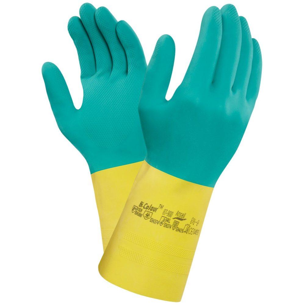 Levně Canis Kyselinovzdorné rukavice ANSELL BI-COLOUR - 9