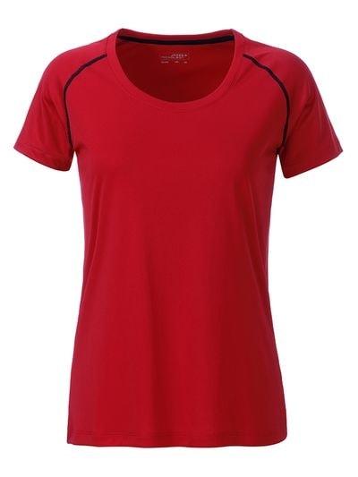 James & Nicholson Dámske funkčné tričko JN495 - Červená / černá | S