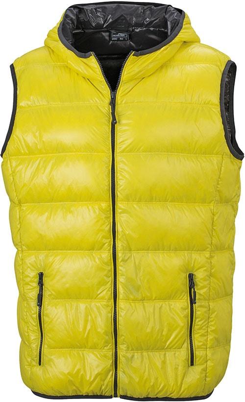 James & Nicholson Ľahká pánska páperová vesta JN1062 - Žlutá / tmavě šedá | XL