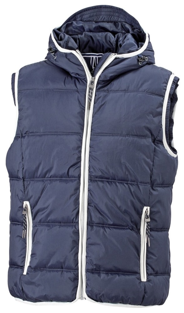 James & Nicholson Pánska vesta s kapucňou JN1076 - Tmavě modrá / bílá | XXXL
