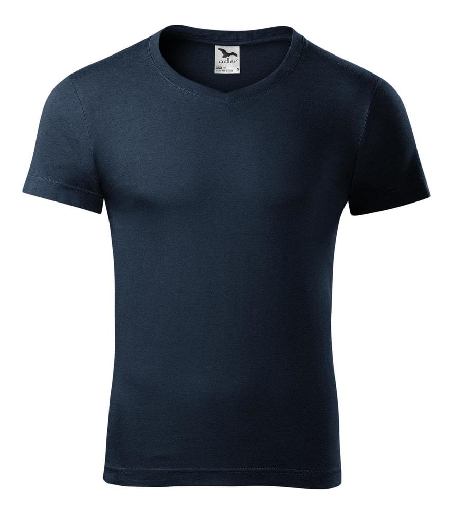 Pánské tričko Slim Fit V-neck - Námořní modrá | S