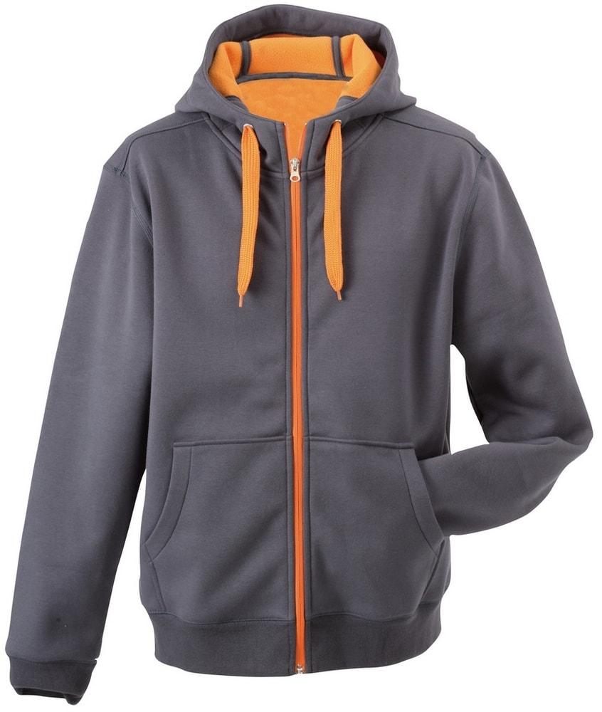 James & Nicholson Pánska dvojfarebná mikina JN355 - Tmavě šedá / oranžová | S