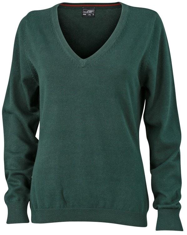 Dámský bavlněný svetr JN658 - Lesní zelená | M