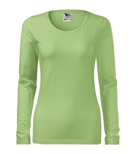 Dámské tričko s dlouhým rukávem Slim - Trávově zelená | XL