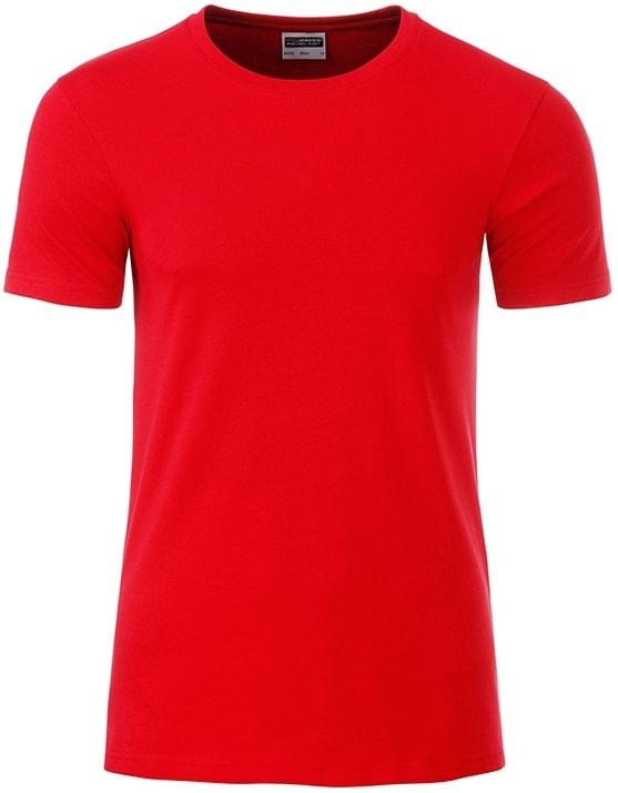 James & Nicholson Klasické pánske tričko z biobavlny 8008 - Tomato | XXL
