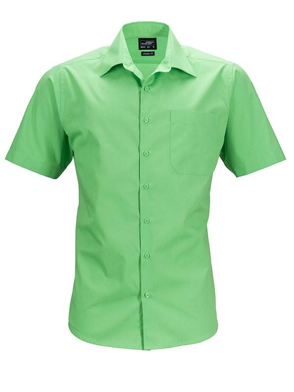 James & Nicholson Pánská košile s krátkým rukávem JN644 - Limetkově zelená | S