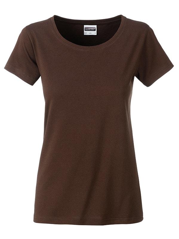 James & Nicholson Klasické dámske tričko z biobavlny 8007 - Hnědá | XL