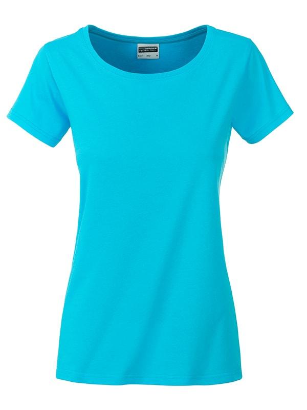 James & Nicholson Klasické dámske tričko z biobavlny 8007 - Tyrkysová | XL