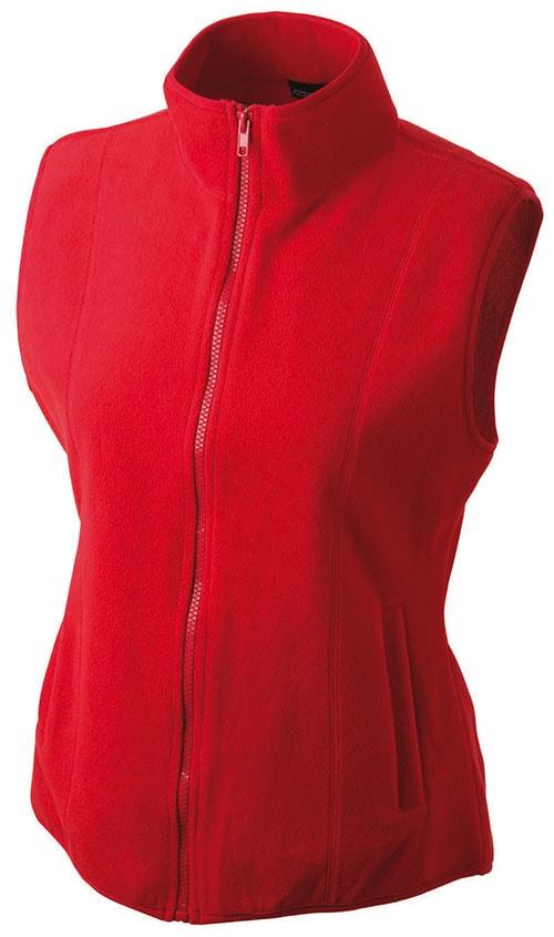 James & Nicholson Dámska fleecová vesta JN048 - Červená | L