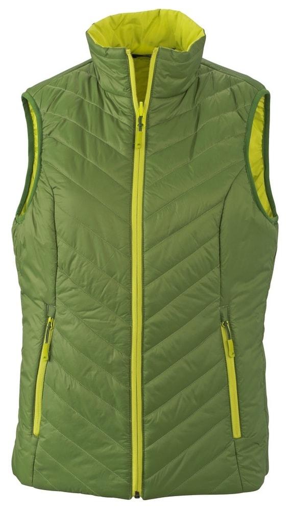 Lehká dámská oboustranná vesta JN1089 - Zelená / žlutozelená | S