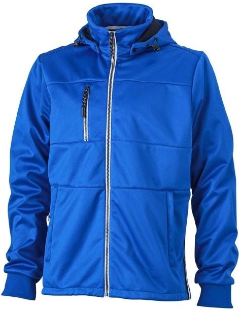 James & Nicholson Pánska športová softshellová bunda JN1078 - Světle modrá / tmavě modrá / bílá   XXXL