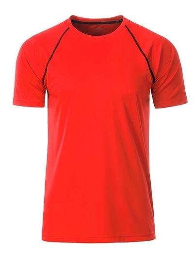 James & Nicholson Pánske funkčné tričko JN496 - Jasně oranžová / černá | M
