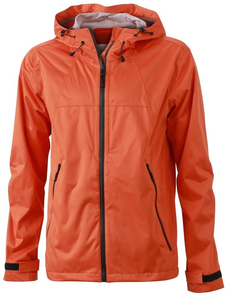 James & Nicholson Pánska softshellová bunda s kapucňou JN1098 - Tmavě oranžová / ocelově šedá   XL