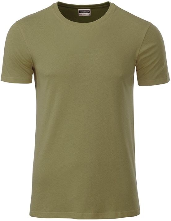 James & Nicholson Klasické pánske tričko z biobavlny 8008 - Khaki | XXL