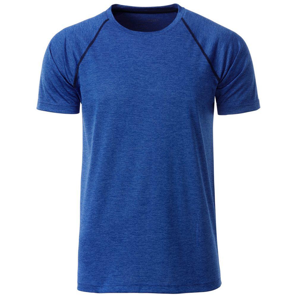 James & Nicholson Pánske funkčné tričko JN496 - Modrý melír / tmavě modrá | S