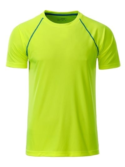 James & Nicholson Pánske funkčné tričko JN496 - Jasně žlutá / jasně modrá | XXL