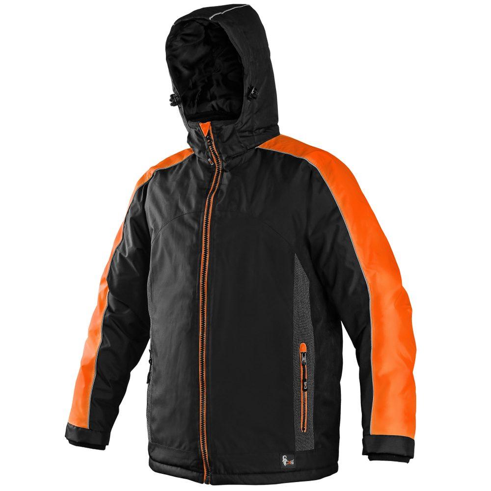 Canis Pánska zimná bunda BRIGHTON - Černá / oranžová   XL
