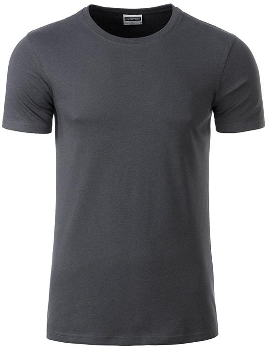 James & Nicholson Klasické pánske tričko z biobavlny 8008 - Grafitová | XXL