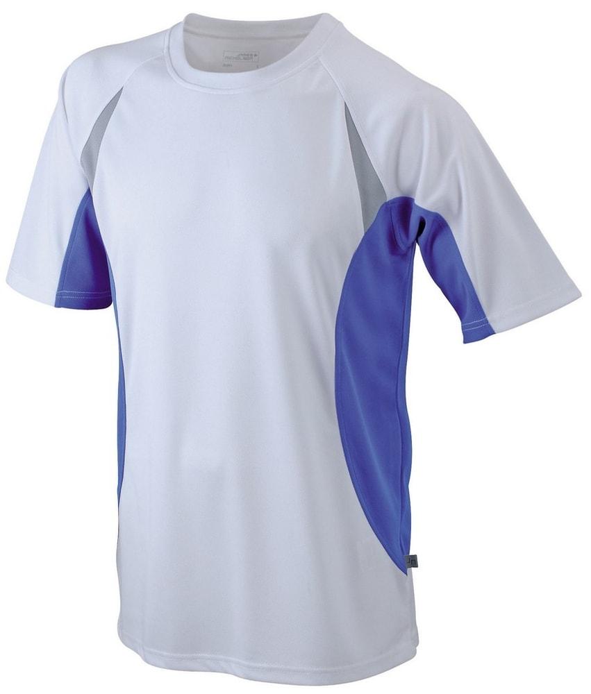 James & Nicholson Pánske funkčné tričko s krátkym rukávom JN391 - Bílá / královská modrá | XL