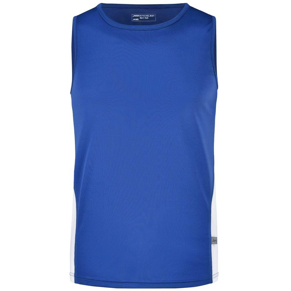 James & Nicholson Pánske športové tričko bez rukávov JN305 - Královská modrá / bílá | XL