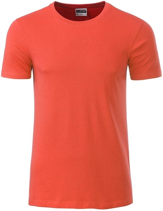 James & Nicholson Klasické pánske tričko z biobavlny 8008 - Korálová | XXL