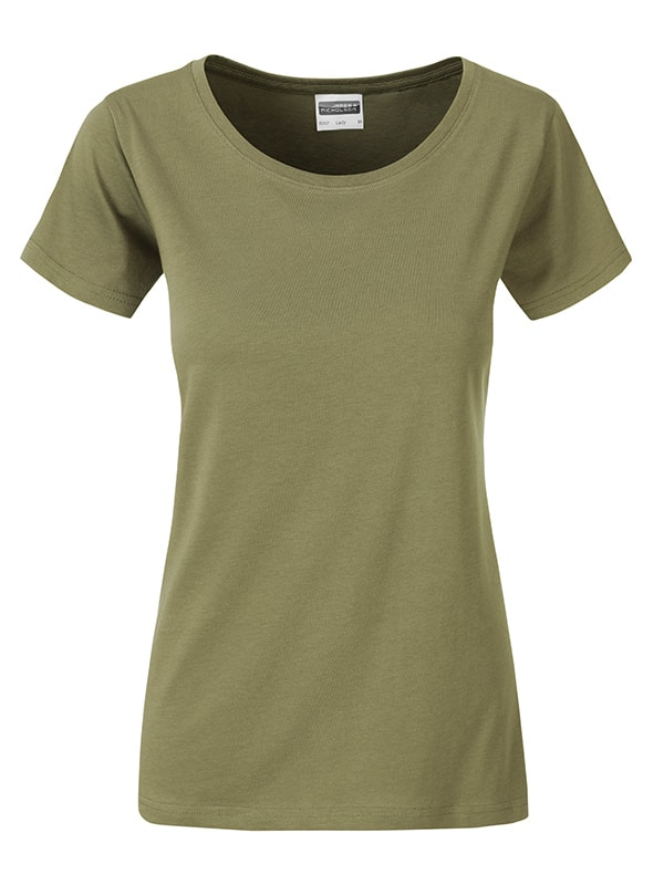 James & Nicholson Klasické dámske tričko z biobavlny 8007 - Khaki | XL