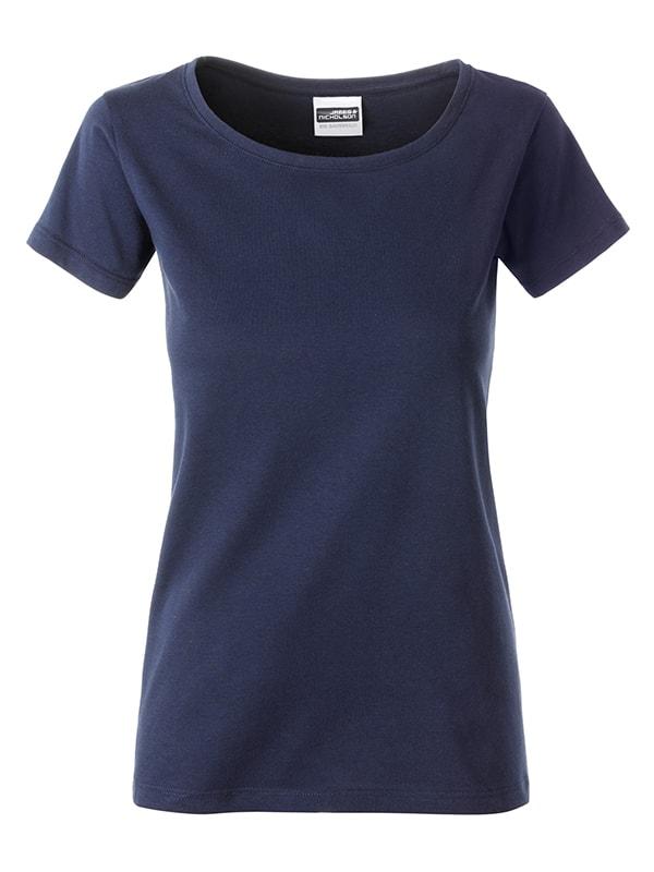 James & Nicholson Klasické dámske tričko z biobavlny 8007 - Tmavě modrá | XL
