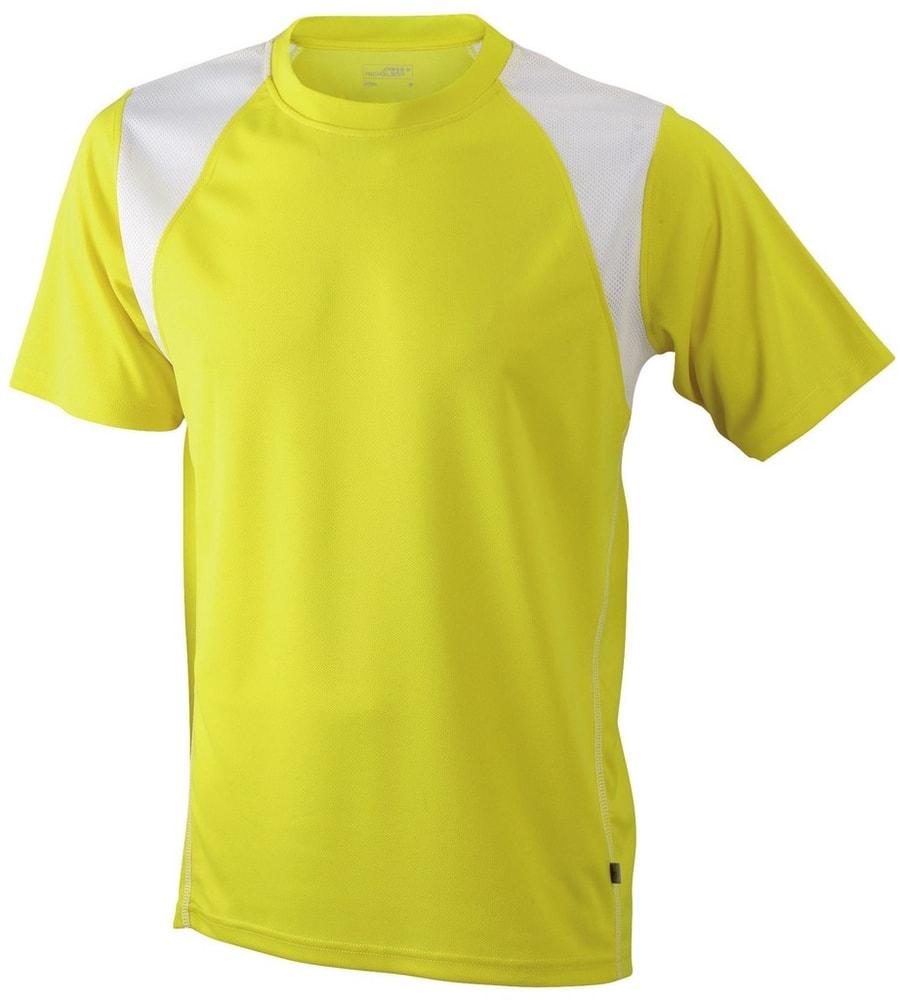 James & Nicholson Pánske bežecké tričko s krátkym rukávom JN397 - Žlutá / bílá | XXL