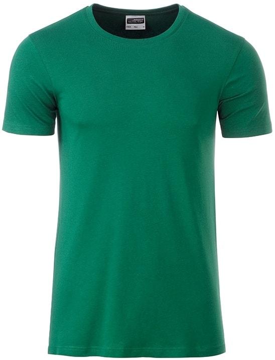 James & Nicholson Klasické pánske tričko z biobavlny 8008 - Irská zelená | M