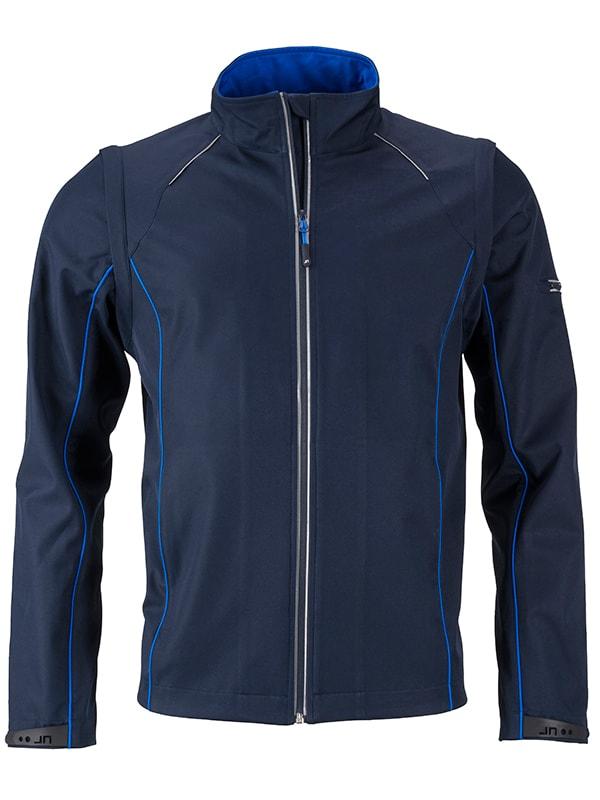 James & Nicholson Pánska softshellová bunda 2v1 JN1122 - Tmavě modrá / královská modrá   XXXL