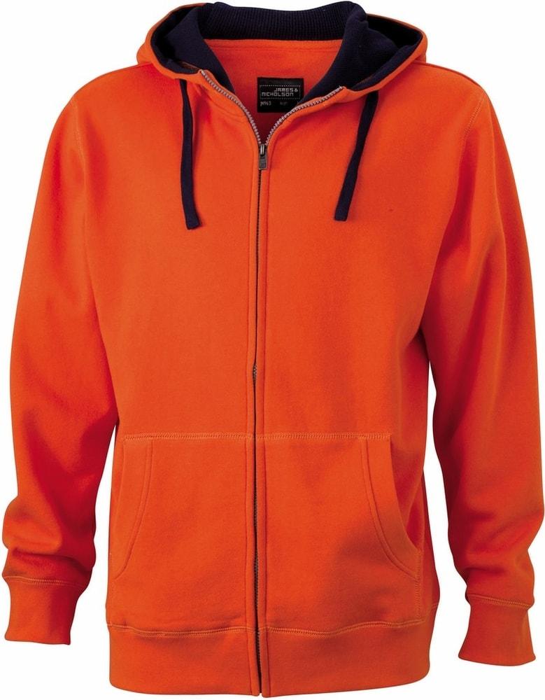 Pánská mikina na zip s kapucí JN963 - Tmavě oranžová / tmavě modrá | XXL