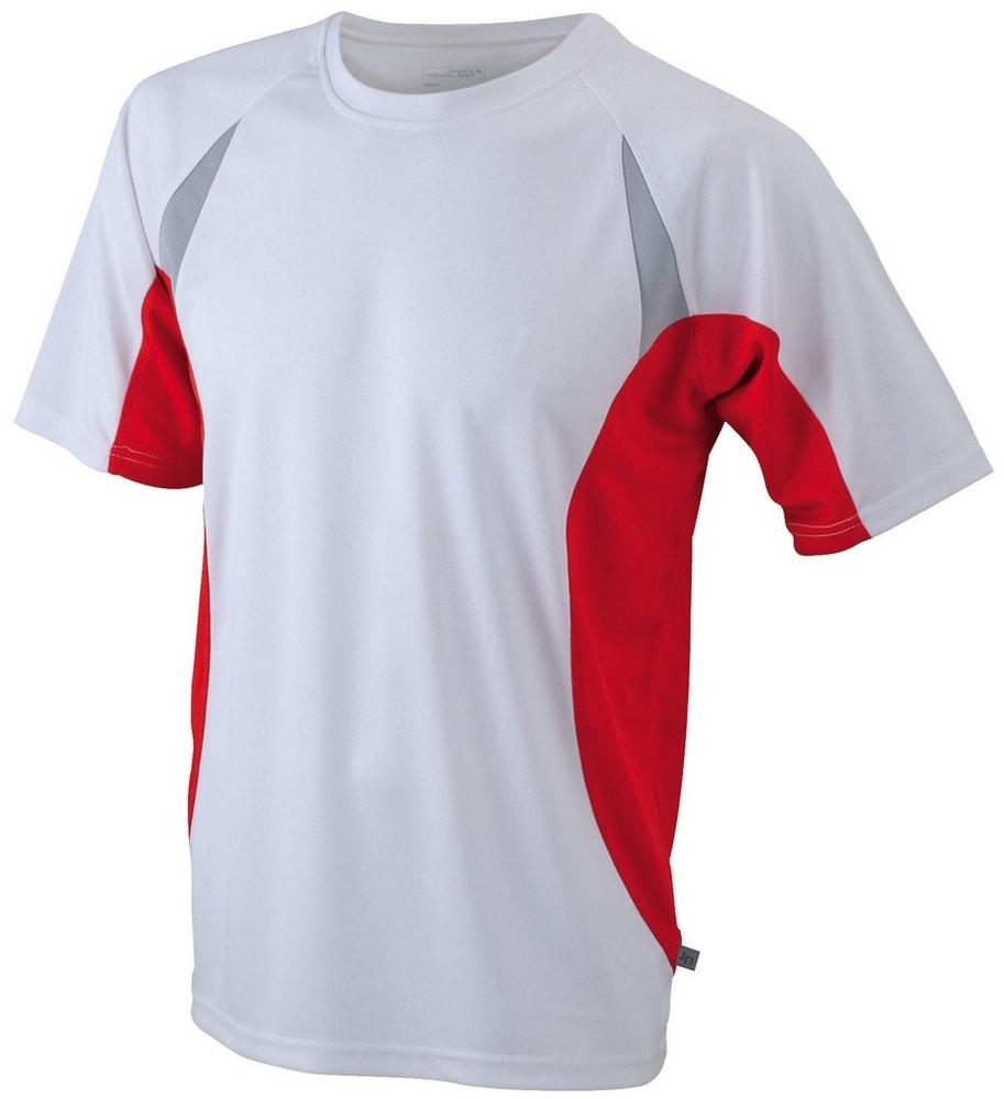 James & Nicholson Pánske funkčné tričko s krátkym rukávom JN391 - Bílá / červená | XXXL
