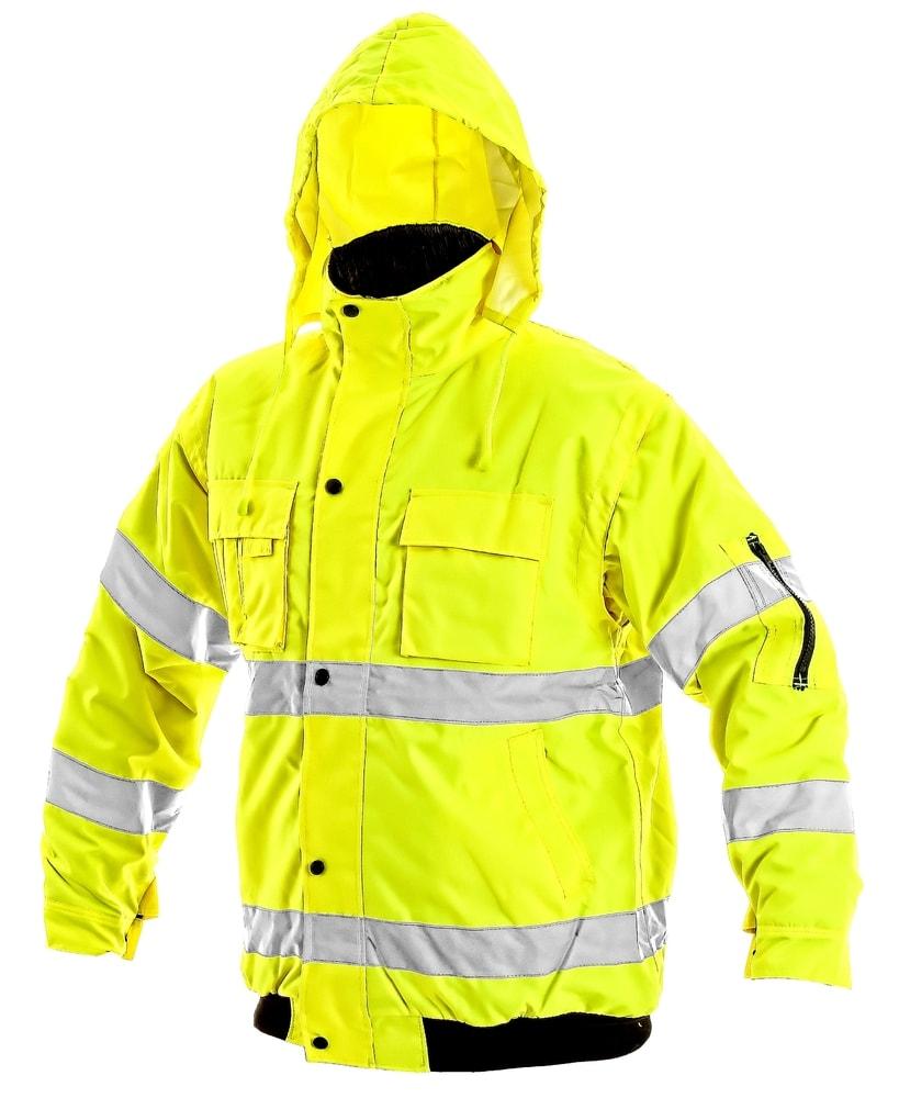 Canis Zimná reflexná bunda s odopínateľnými rukávmi LEEDS - Žlutá | XXL