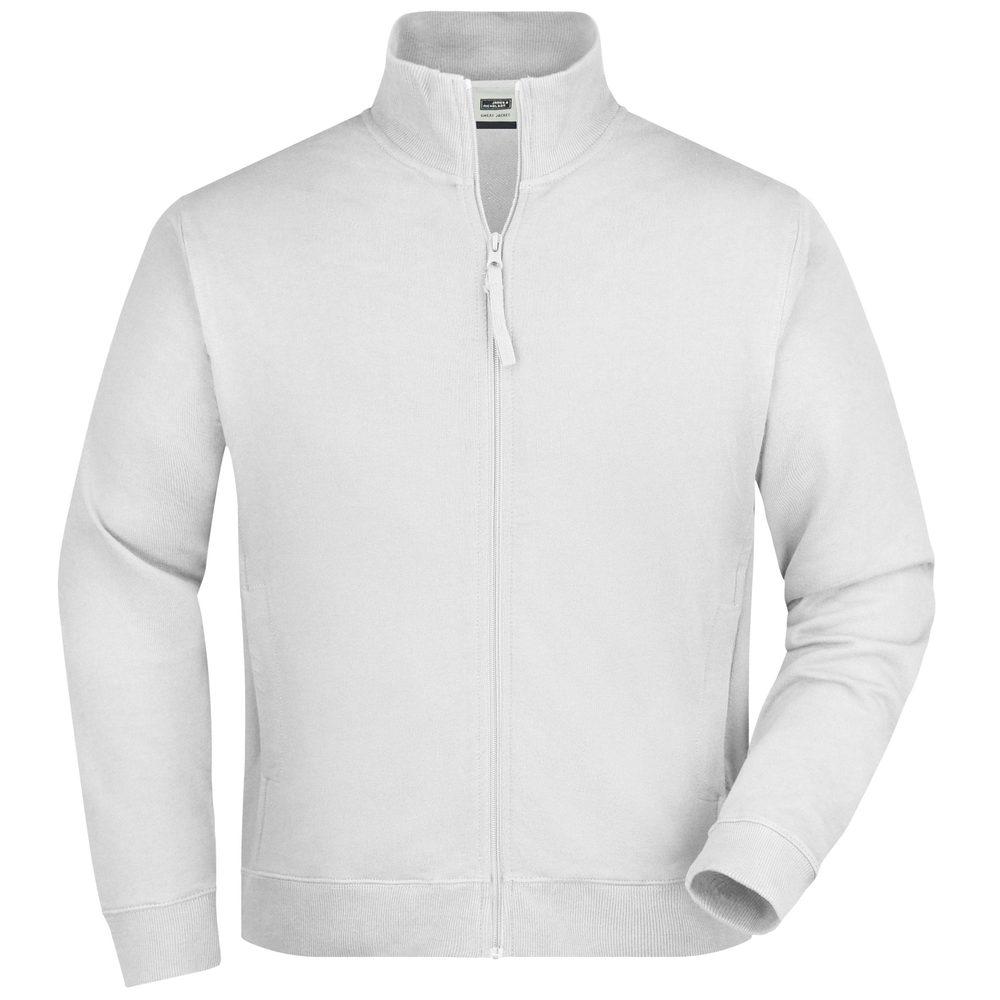 James & Nicholson Pánska mikina na zips bez kapucne JN058 - Bílá   XL