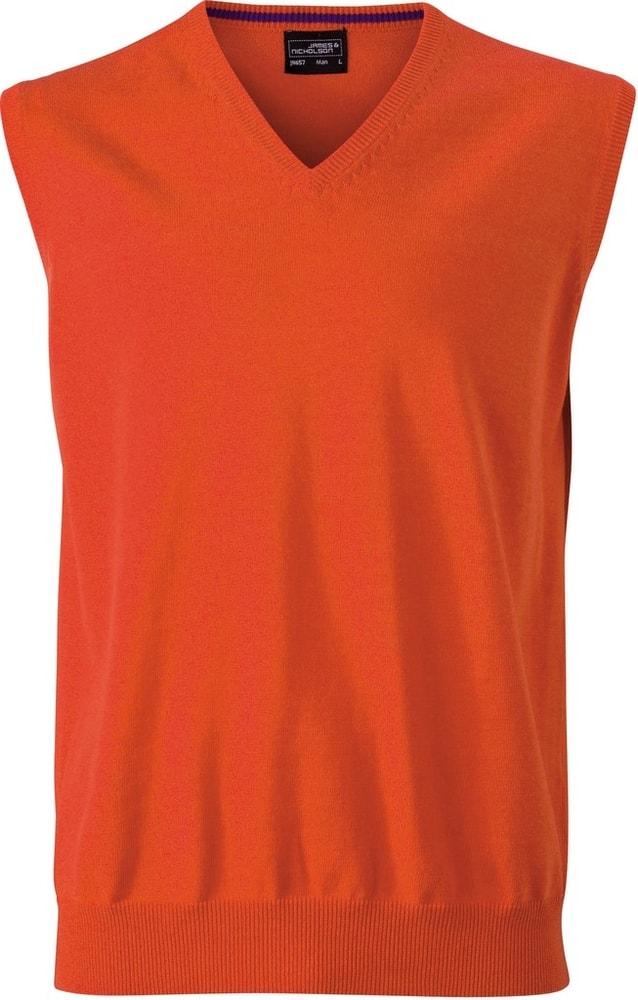 James & Nicholson Pánský svetr bez rukávů JN657 - Tmavě oranžová | M
