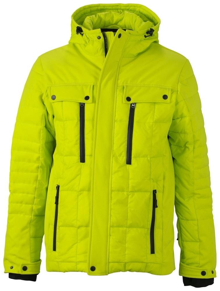 James & Nicholson Športová pánska zimná bunda JN1102 - Žlutozelená / černá   XXXL