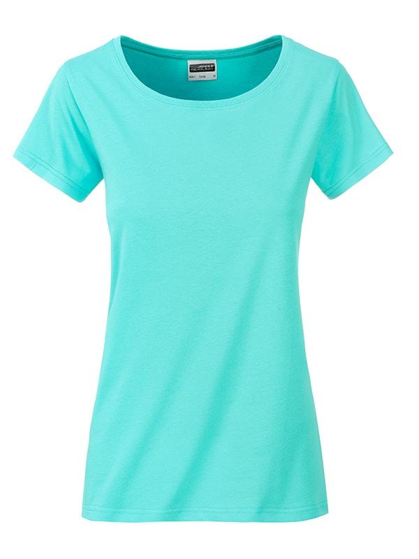 James & Nicholson Klasické dámske tričko z biobavlny 8007 - Mátová | XL