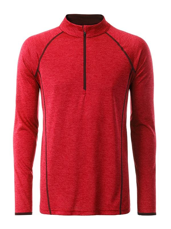 Pánské funkční tričko s dlouhým rukávem JN498 - Červený melír   XL