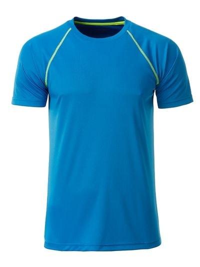 James & Nicholson Pánske funkčné tričko JN496 - Jasně modrá / jasně žlutá | XXL